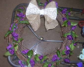Purple Roses, Green Leaves and Burlap Lace Bow Grapevine  Initial  Wreath