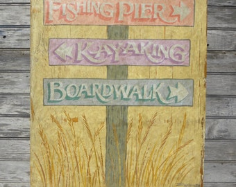 Beach  Word Art Sign, hand painted, original, ZD BW