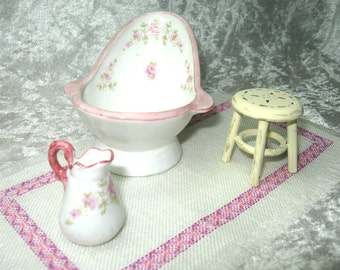 Stool shabby/victorian, furniture bath, kitchen, handpainted miniature - Dollhouses Miniature scale 1:12