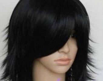 Elenora // Shoulder Length Black Full Synthetic Wig