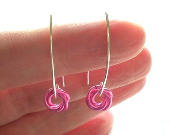 Bright Pink Chain Mail Earrings, Open Hoops, Chainmaille Jewelry, Artisan Ear Wires, Modern Earrings, Perfect Holiday Gift, Stocking Stuffer