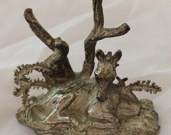 Donkey scene silver metal figurine