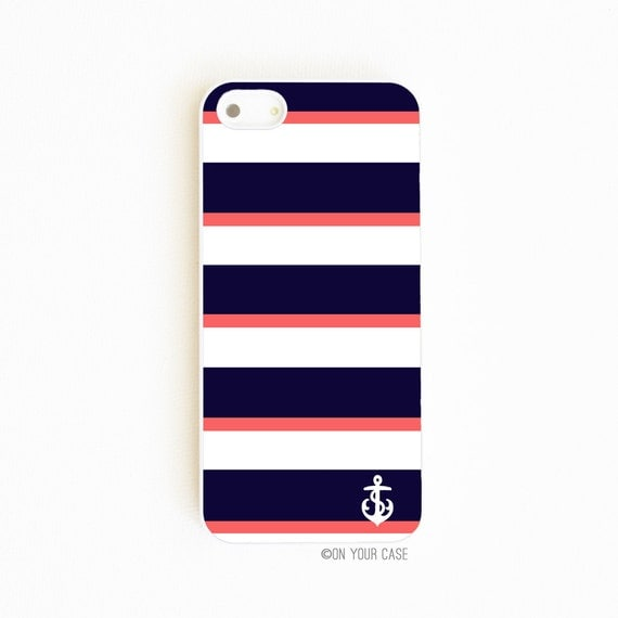 iPhone 5 Case. iPhone 5S Case. Nautical Navy & Coral Stripe with Anchor. Phone Case. Case for iPhone 5. iPhone Case.