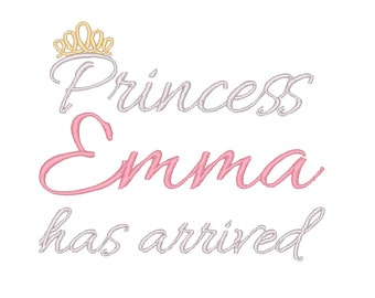Princess has Arrived Embroidery Design - Instant Download