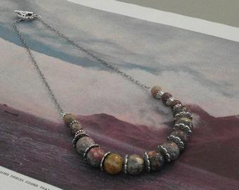 Leopard Jasper beaded necklace