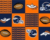 ℳ Fleece Designer Sports Fabric NFL Licensed Brand Broncos Squares 6278D 60 Inch Wide Fabric by the Yard, 1 yard