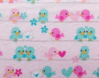 ℳ Riley Blake Designer Flannel- Lovey Dovey Collection Lovebirds Pink 45 Inch Fabric by the yard - 1 Yard