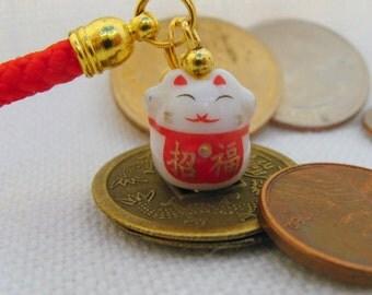 Lucky Cat Maneki Neko Porcelain Phone/Handbag Mini Charm with Red Braided Strap/Lanyard and Bell. Red Blessings  Bib.