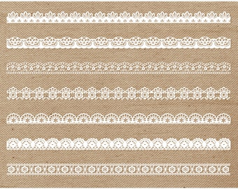 Borders - Rustic Chic Lace Borders Clip Art (white, cream and black) / Digital Clipart - Instant Download