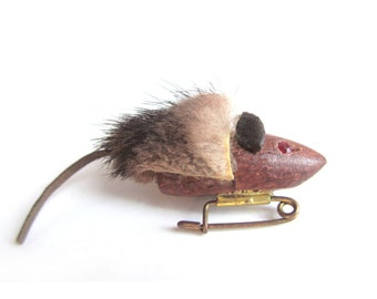 Vintage Fur Leather Mouse Pin Jewelry