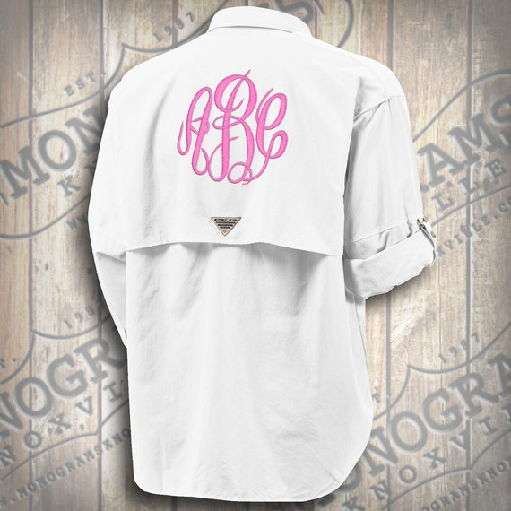 Monogrammed fishing shirt columbia pfg men 39 s white for Monogram fishing shirt