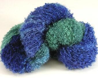 Hand Dyed Mohair Wool Dark Blue Green Watercolor Loop 2437