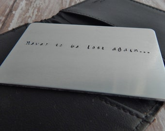 Hand Stamped Custom Wallet Insert / Your Own Words / Personalized Stamped Metal Card / Stamped Message / Valentine's Day Gift