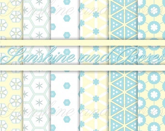 Baby Blue Pattern 12 x 12 Backgrounds For Scrapbooking and Crafts, Digital Download, Scrapbook Papers