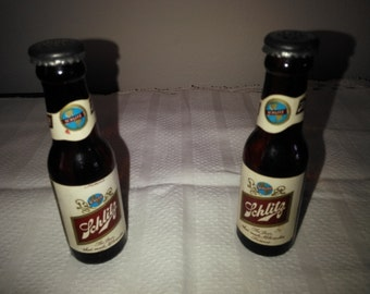 Vintage Schlitz  Beer Bottle Salt and Pepper Shaker Set