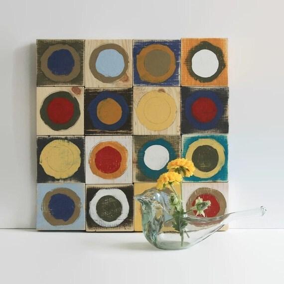 painted circles wood wall hanging, 15X15