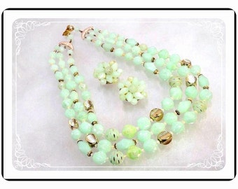 Lucite Necklace Set - Pastel Green Lucite Faceted Bead Multi Strand Necklace & Earrings -  Demi-1632a-121012000