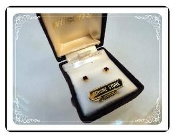 Ruby 14K Gold Earrings - Vintage Ruby 14K Gold Pierced Earrings - Old Store Stock - E1636a-030813010