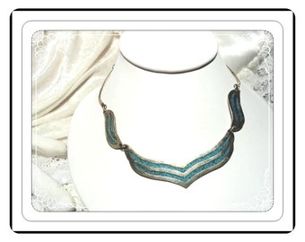 Alpaca Silver Necklace - Vintage  w Inlaid  Turquoise  Neck-1399e-032313000
