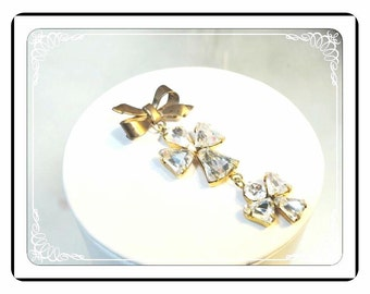 1940's Bow Brooch - Sweet Recycled with Two Dangling Angels   -   Pin-1820a-051613000