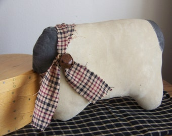 Primitive Sweet And Simple Sheep Fabric Art Shelf Sitter
