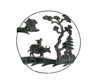 Vintage Japanese Black Metal Landscape Scene in the Round Wall Hanging // Tin Stamp Asian Landscape // Metal Landscape - 4 Different Scenes
