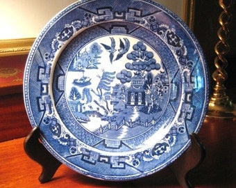 Antique BLUE WILLOW PLATE England Staffordshire Pottery