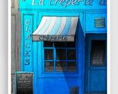 Closing time - Paris illustration Fine art illustration Mixed media illustration Prints Posters Paris decor Paris cafe City prints Turquoise