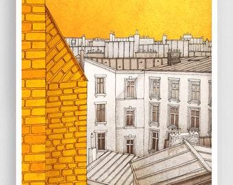 Paris illustration - Sunny day in Paris - Art illustration Prints Posters Paris decor Yellow Wall Art Paris cityscape Home decor City prints