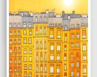 Yellow facade - Paris illustration Art Print Poster Home decor Wall decor Gift ideas for her Modern Living room decor Paris houses Cityscape
