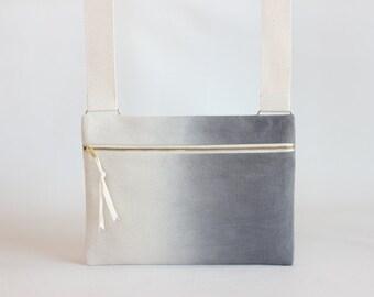 Charcoal Ombre Unisex Crossbody bag / Hand-dyed Natural Denim Mini Messenger Bag / Satchel Bag / Handbag / Canvas Bags / dark grey bag