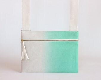 Mint Green Ombre Unisex Crossbody bag / Hand-dyed Natural Denim Mini Messenger Bag / Satchel Bag / Handbag / Canvas Bags / green bag
