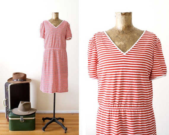 red striped dress - Womens Stripe T Shirt Dress - V Neck Casual Dress