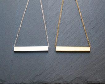 Silver bar necklace, gold bar necklace, geometric, tube, rectangular, sterling silver chain, gold chain, sleek minimal modern jewelry, tabla