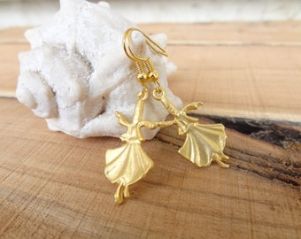 Whirling Dervish - Semazen Earrings, Gold Plated Earrings, Sufi,Traditional, Gift For Her, Mother's Day