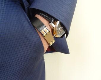 Men's Black Leather STAINLESS STEEL Bracelet, Men's Jewelry, Gold Bracelet, Groom Bracelets , Groom Gift, Wedding Gifts