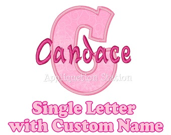 Custom Name Initial Monogram Letter Applique Machine Embroidery Design Download