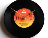 """Johnny Cash Vinyl Record CLOCK """"Ghost Riders In The Sky"""" 7"""" single. Unique gift for Country Music fans black orange yellow ombre shades"""