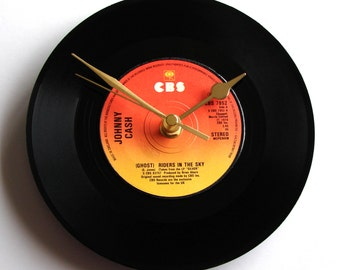 "Johnny Cash Vinyl Record CLOCK ""Ghost Riders In The Sky"" 7"" single. Unique gift for Country Music fans black orange yellow ombre shades"