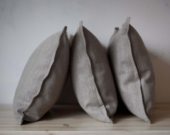 Linen pillow covers set of 3 - decorative pillow cases - cushion covers set - linen throw pillows - linen euro shams - custom size  0283