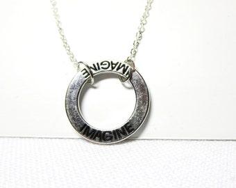 Imagine - passion - focus - discipline - integnity  charm pendant necklaces - Motivation Necklace chic bohemian steampunk