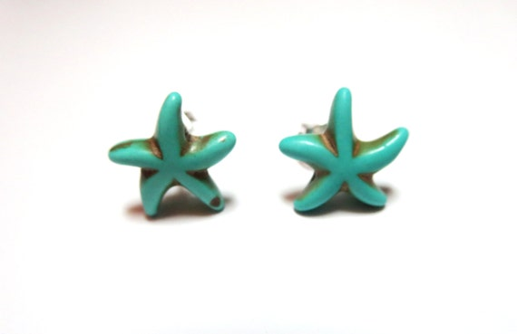 Blue Turquoise  Earrings -Starfish stud -Turquoise jewelry- Bridesmaid gift, Sea star necklace