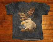 Bald Eagle American Flag tie dyed blue patriot soldier tshirt shirt - medium