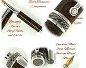 Custom Wooden Pen Fountain Pen Beautiful Zircote  Rhodium and Black Titanium Hardware 787FPD