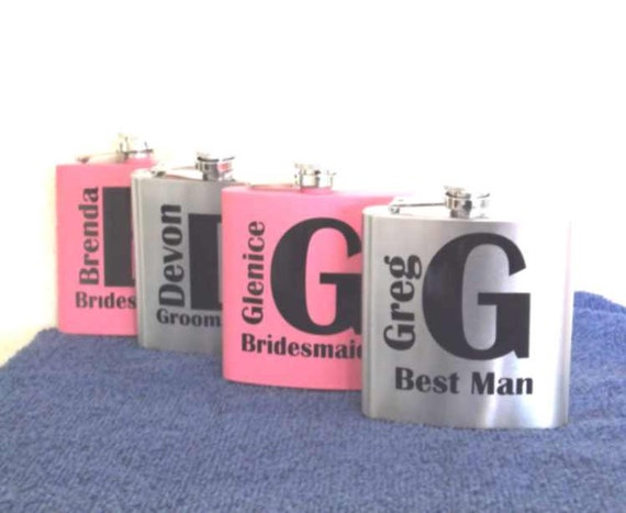 wedding party gifts, bridal party gifts, bachelor party gift, bridesmaid gifts, groomsman flasks, wedding party flasks, grooms flask