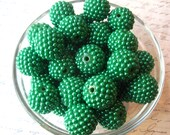 Green Bumpy Bead, 6 pcs 20mm Christmas Green Berry Bead, Bubblegum Beads, Pearl Berry Bead, Gumball Bead, Acrylic Bead, Chunky Beads