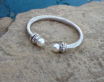 Pearl Sterling Silver Cuff Bracelet ~ Gorgeous Gift!