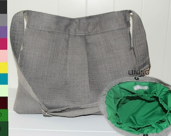 CHOOSE  your Lining Stone Grey Diaper Bag with Emerald Lining