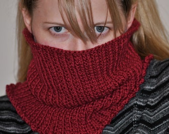 Hand Knit Reversible Cranberry Red Ribbed Pull Over Head Cowl