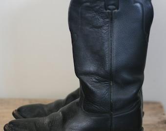 vintage tony lama black leather western boots heavy duty